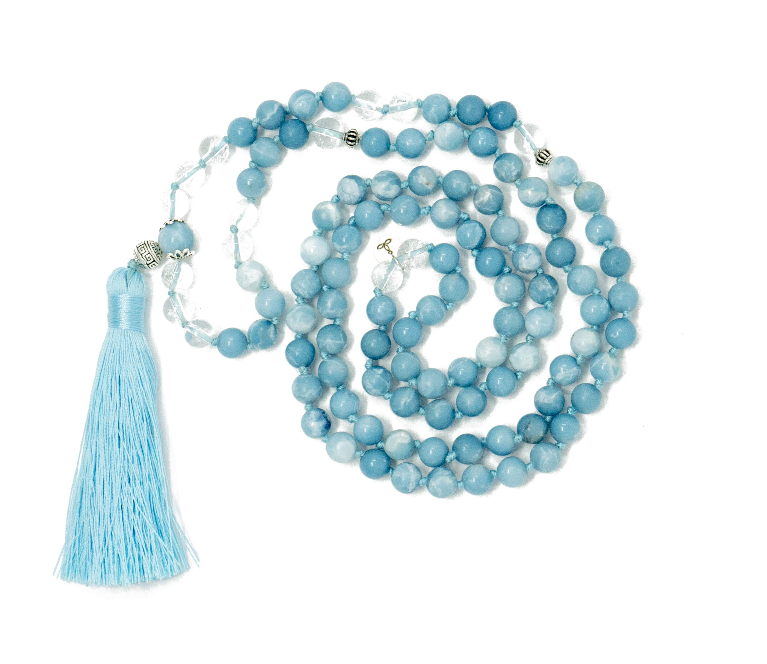 Larimar Accessories | Premium 8MM 108 Mala Beads Necklace with Tassel | Mala Gemstone Necklace | Mala Yoga Necklace | Mala Meditation Beads | Jewelry for Women Men | (Larimar & Clear Quartz) by Larimar Accessories