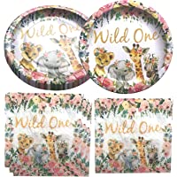 Fenghu Wild One Birthday Party Supplies, 20 Plates and 20 Napkin, Wild One Theme Birthday Party Decoration for Girl