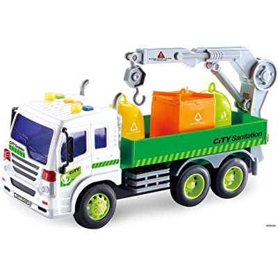 Memtes Friction Powered Garbage Crane Truck Toy with Lights and Sounds for Kids: Toys & Games