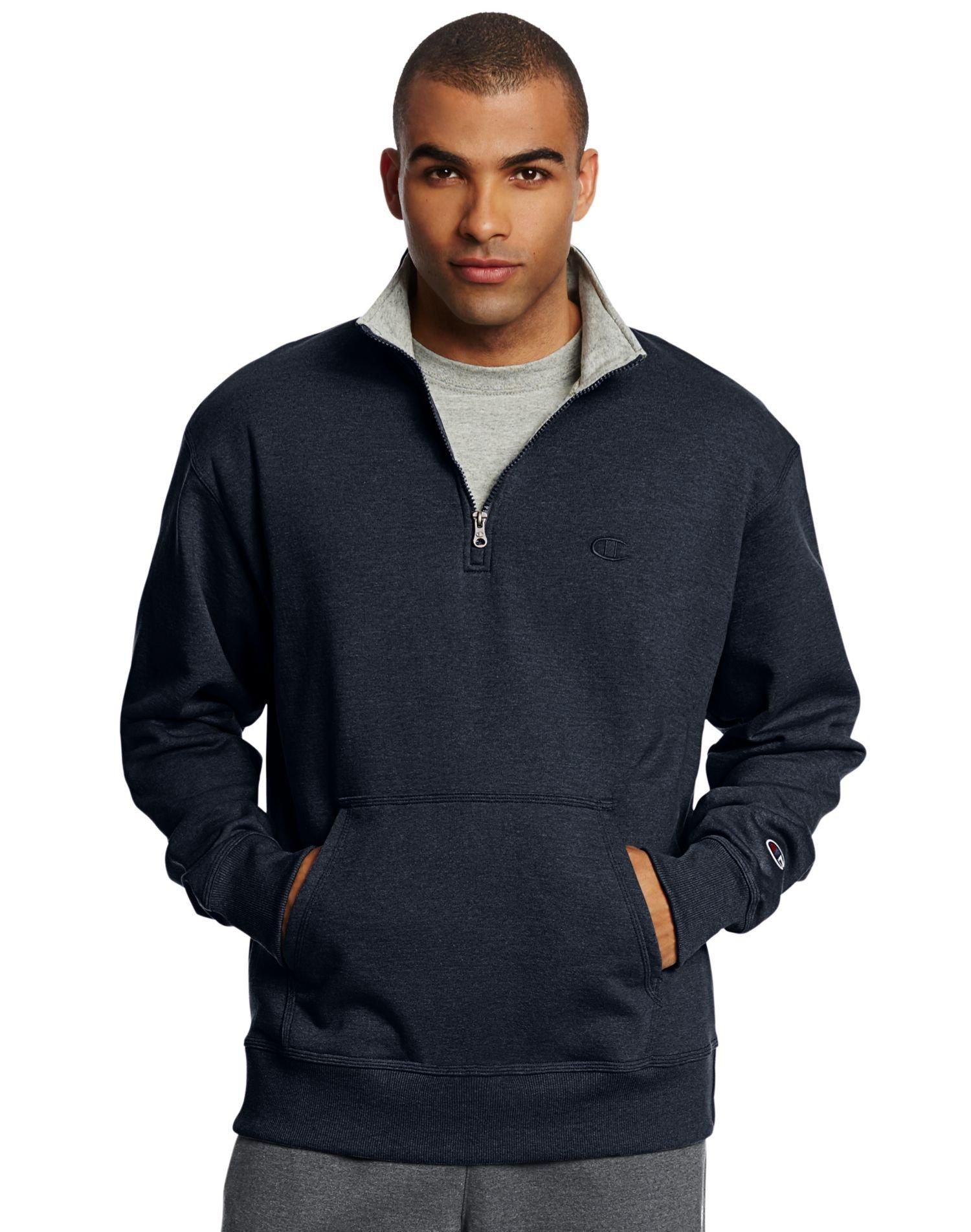 Champion Men`s Powerblend Fleece 1/4 Zip Pullover, 4XL, Navy