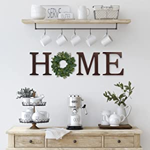 Home Letters for Wall with Wreath, Large Home Letters Cutouts, Home Wall Decor Letters, Hanging Home Sign with Wreath, Home Wall Letters, Home Decor Letters for Wall, Large Home Letters Decor (Brown)