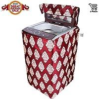 E-Retailer Classic Maroon Flower Design Top Load Washing Machine Cover (Suitable For 6 kg, 6.5 kg, 7 kg, 7.5 kg)