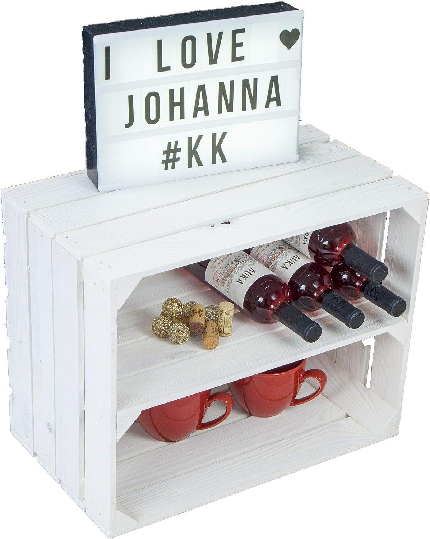 50x40x30cm schuhregalkiste avec zwischenbrett//mittelbrett Insert env bo/îtes de Apple Caisse /à vin bo/îtes en Bois de du Vieux-Pays Kistenkolli Altes Land flamb/é//Flamboyant Biblioth/èque