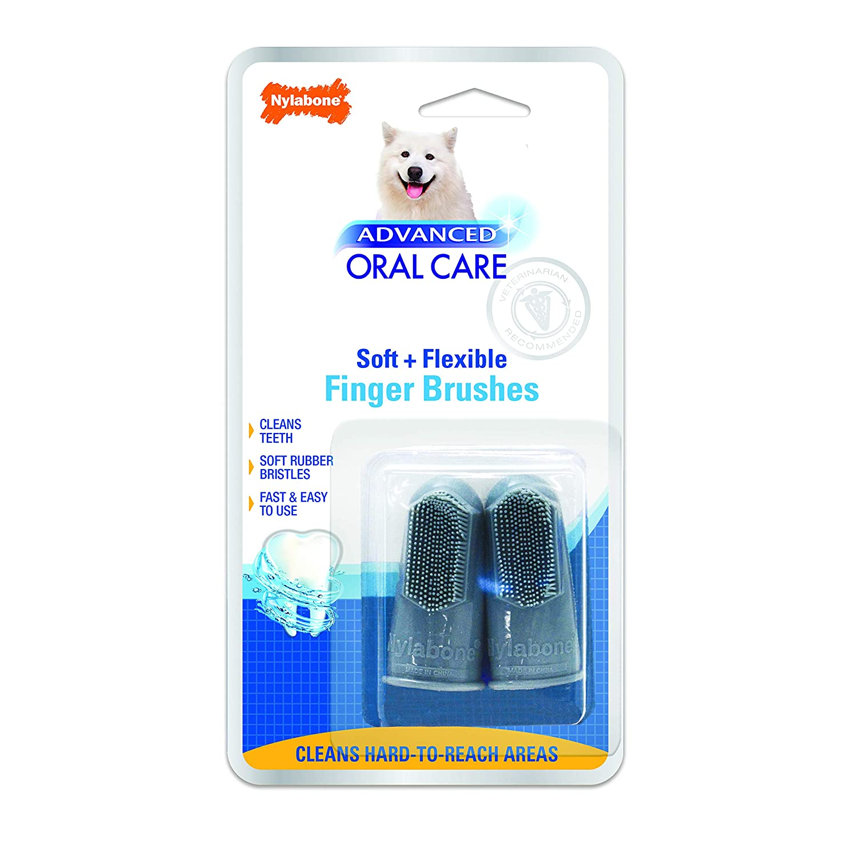 Nylabone Advanced Oral Care Dog Finger Brush, 2 pack