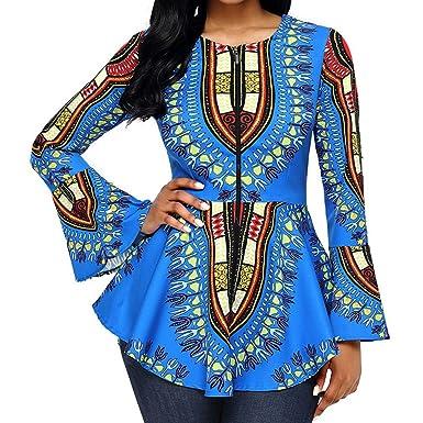 4d1a96b4b485 Mxssi Femme Plus Size Manches Longues Africain Chemise Blouse Haut Slim Fit  Zipper  Amazon.fr  Vêtements et accessoires