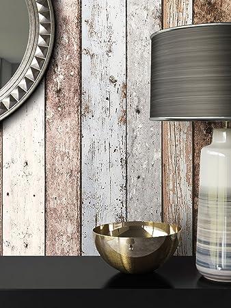 Holz Muster Tapete Vlies Blau Beige Edel | Schöne Edle Tapete Im Holzwand