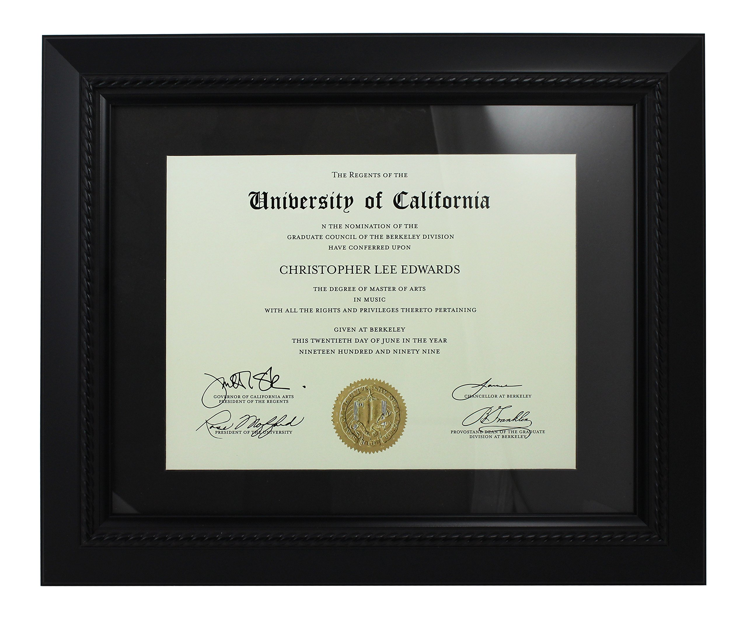 Azzure Home Document Frame - Black with Black Mat Document Frame Made to Display Certificates 8 ½ x 11 Inch Opening to 11 x 14 Inch Frame - Document Frame, Certificate Frame, University Diploma Frame