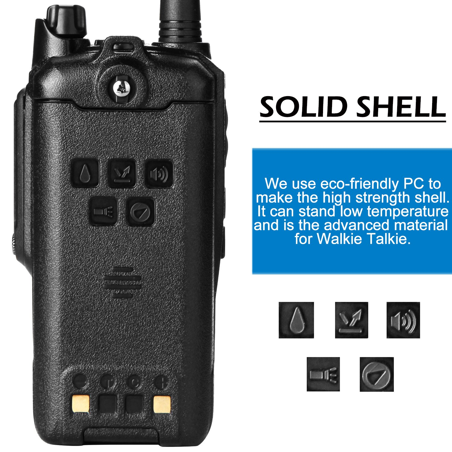 Wireless Radio Transceiver, IP66 Waterproof & Dustproof Two Way Radio Walkie Talkie with Headset/LED Flashlight/Battery/Charger for Indoor & Outdoor Activities by Waltalkie (Image #5)