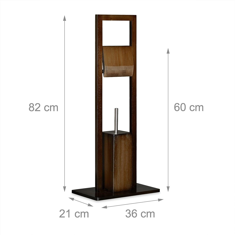 Relaxdays, Marrón, 82 x 36 x 21 cm Escobillero Portarrollos de Pie, Bambú, Acero Inoxidable y Plástico