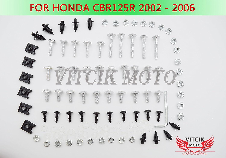 VITCIK Full Fairings Bolt Screw Kits for CBR125R 2002 2003 2004 2005 2006 CBR 125 R 02 03 04 05 06 Motorcycle Fastener CNC Aluminium Clips Blue /& Silver