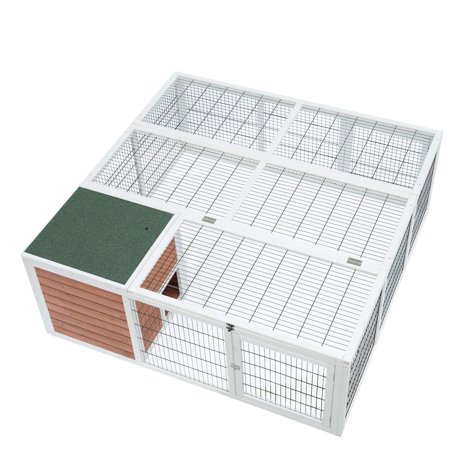 PawHut 64'' Wooden Outdoor Rabbit Hutch Playpen With Run And Enclosed Cover