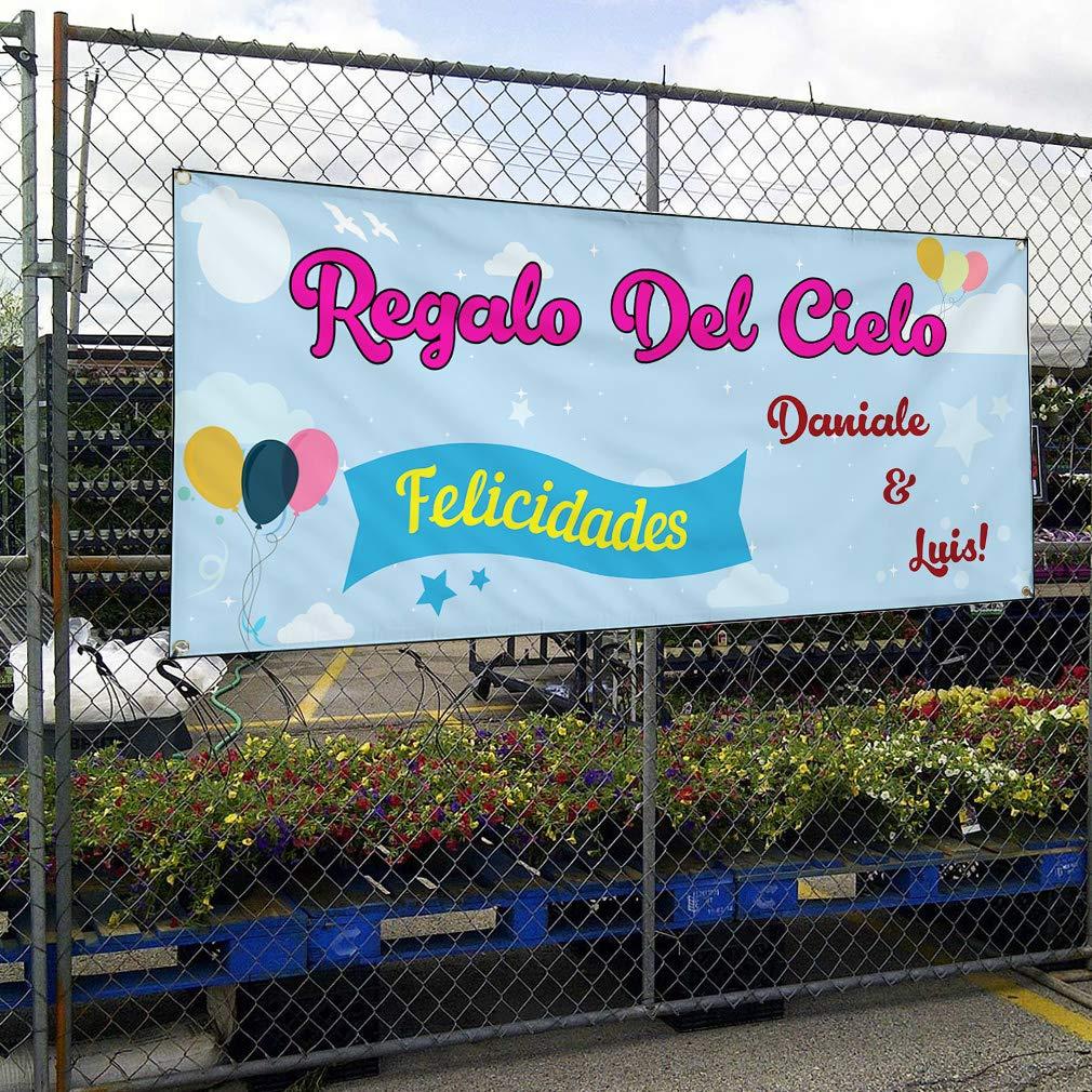 Custom Vinyl Banner Sign Multiple Sizes Regalo Del Cielo Felicidades A Lifestyle Baby Shower Celebration Outdoor Blue 6 Grommets 36inx72in Set of 5
