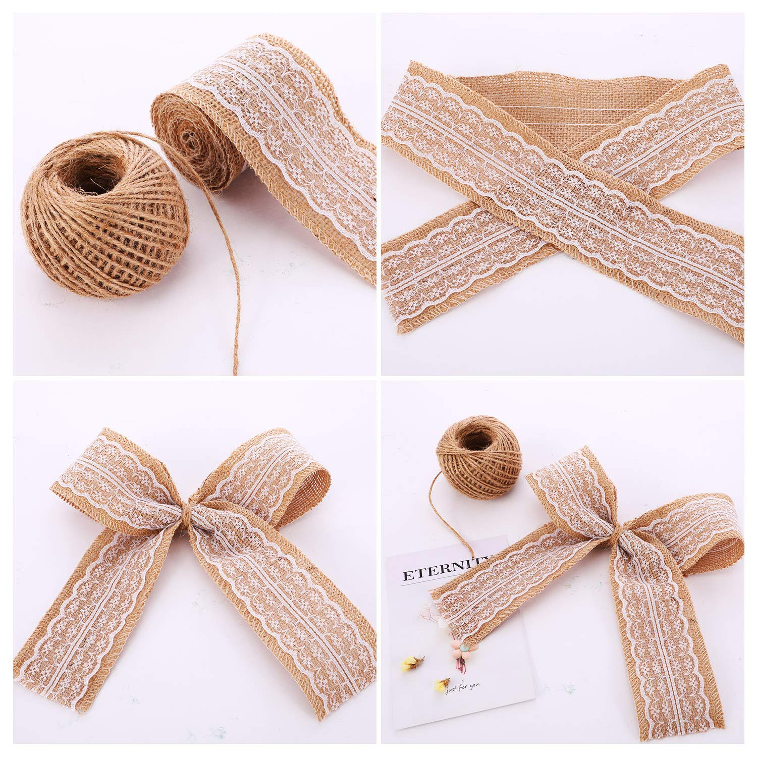 Yaomiao Natural Burlap Flowers Set, Include Lace Burlap Ribbon Roll, Handmade Rustic Burlap Flowers and Twine Ribbon for Wedding Home Embellishment by Yaomiao (Image #4)