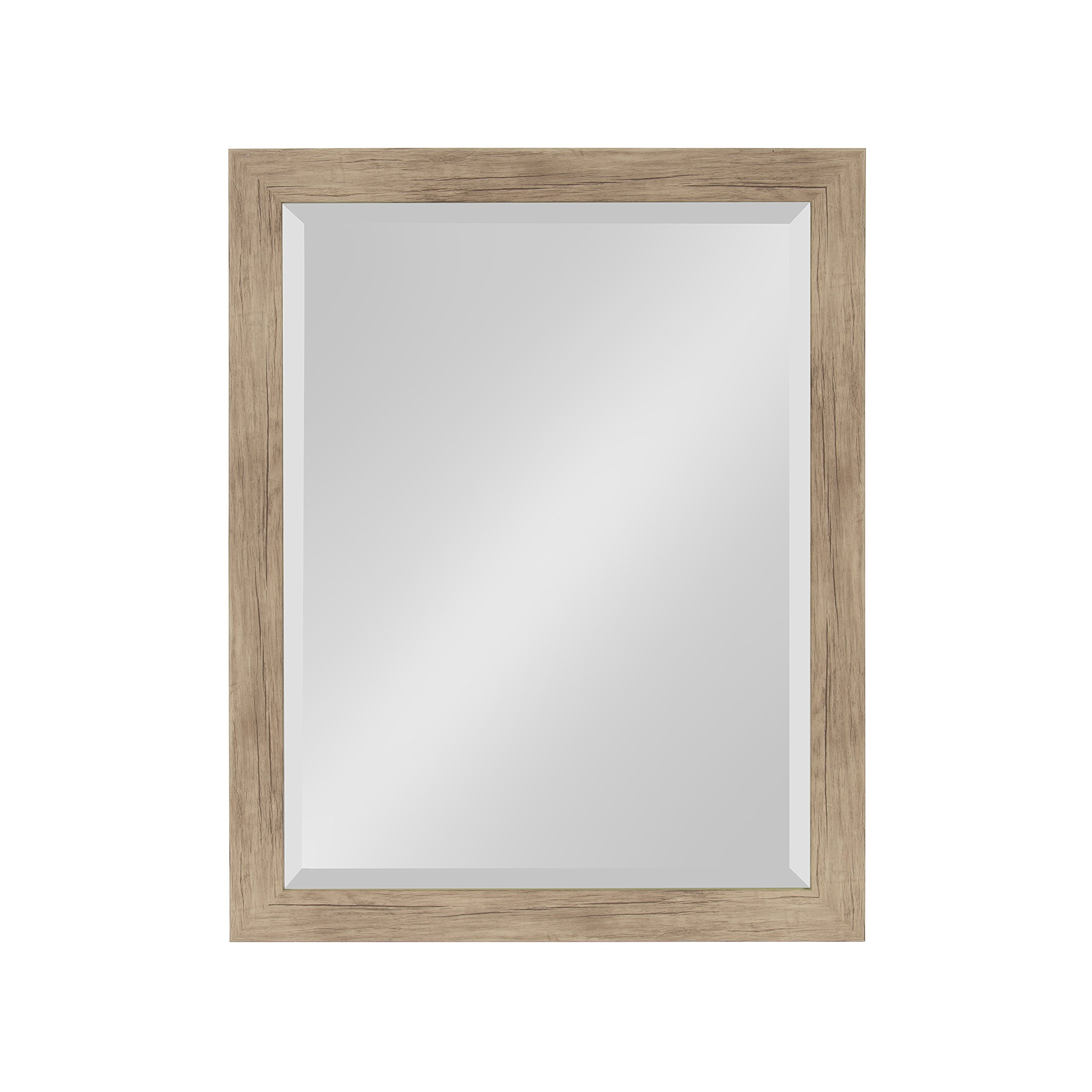 DesignOvation Beatrice Framed Decorative Rectangle Wall Mirror, 21 x 27, Rustic Brown