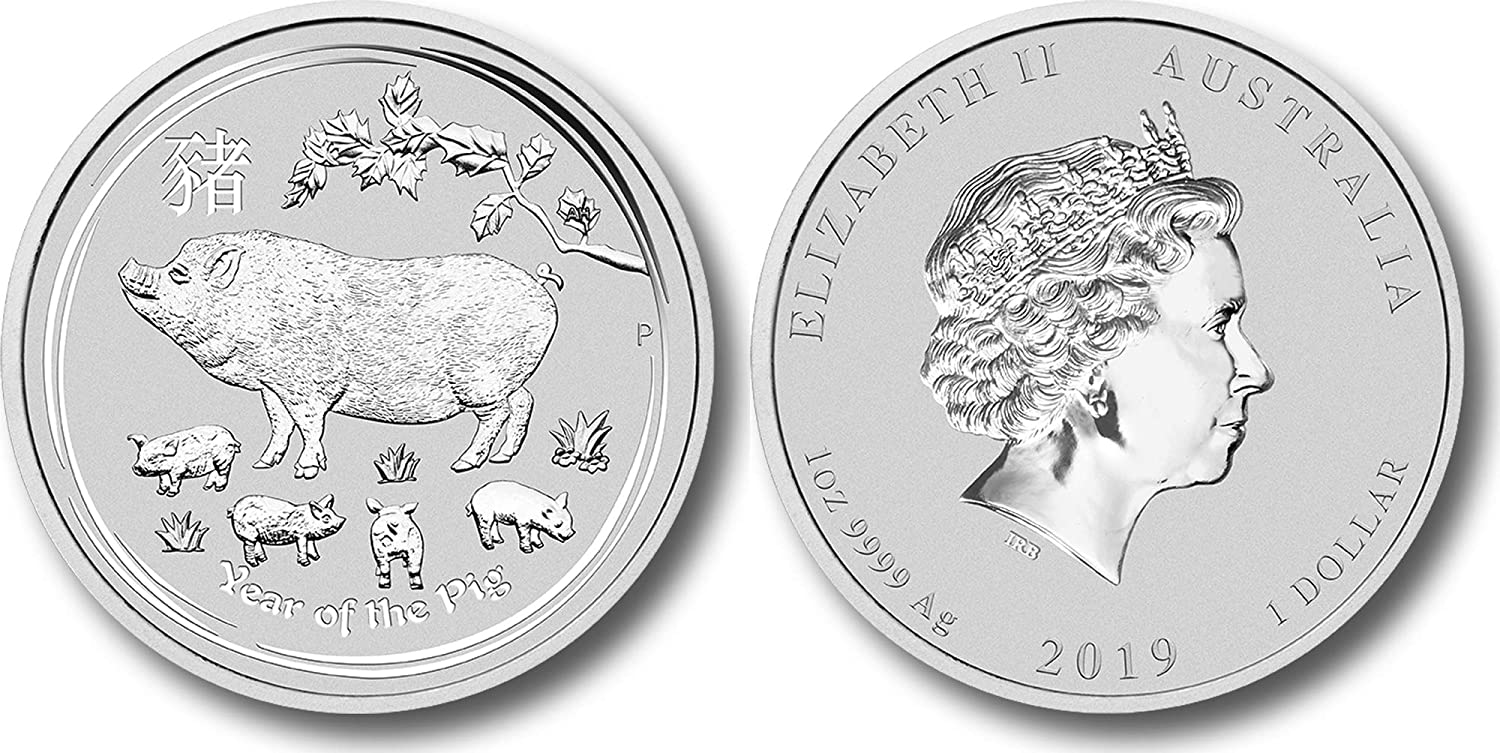 2019 Great Britain Year Of The Pig 1 oz .999 Silver Capsuled BU Coin