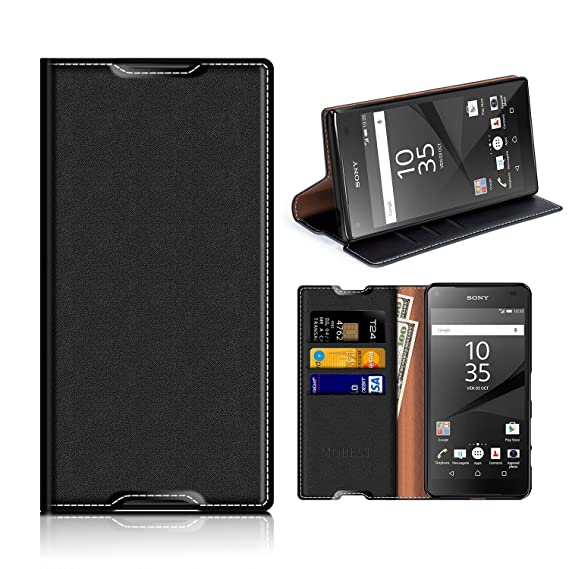newest f6ae0 a46ea Sony Xperia Z5 Wallet Case, Mobesv Sony Xperia Z5 Leather Case/Phone Flip  Book Cover/Viewing Stand/Card Holder for Sony Xperia Z5, Black