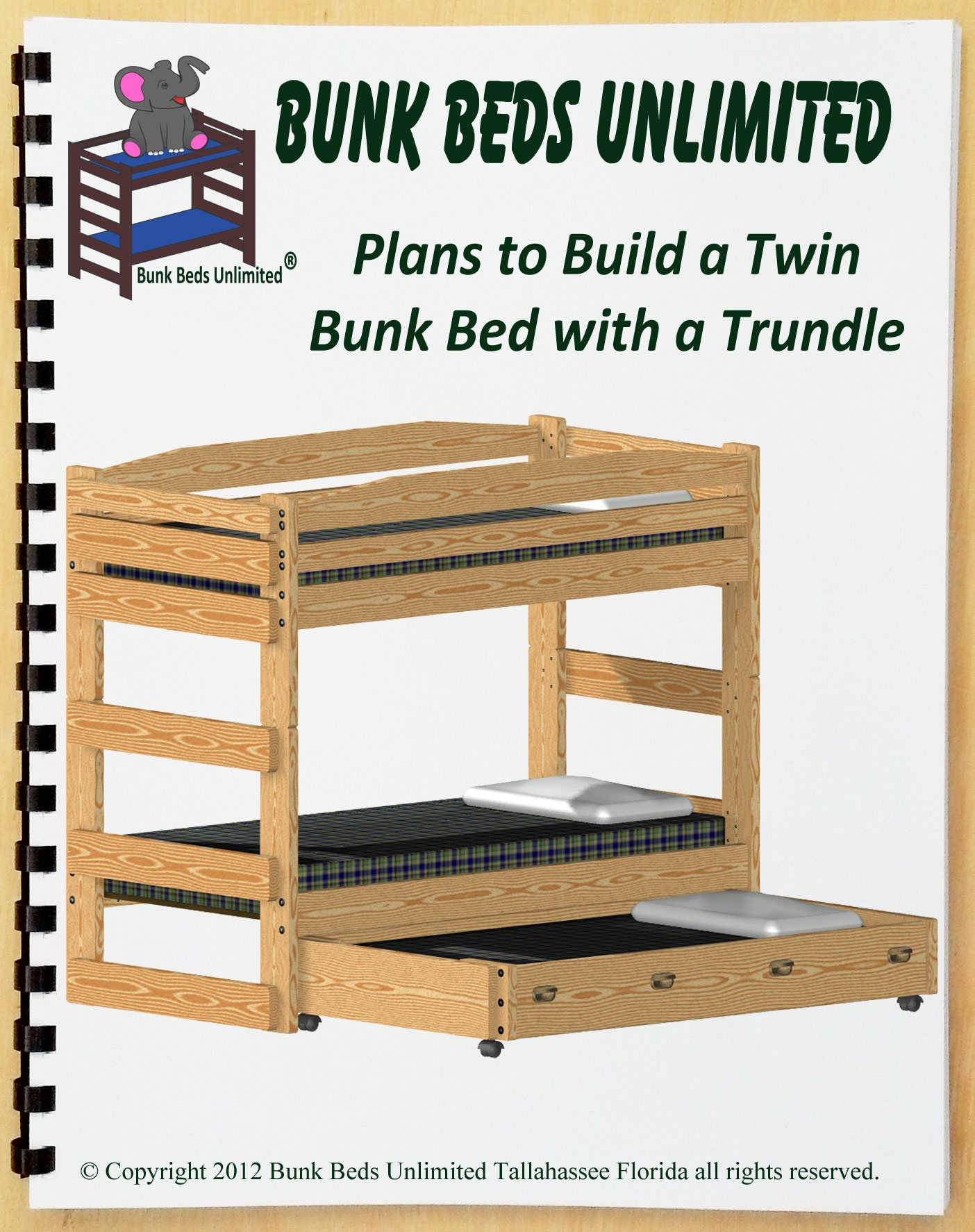 Bunk Bed DIY Woodworking Plan to Build Your Own Stackable Twin Extra-Long (XL Over XL) Bunk with Standard Twin-Size Trundle That Sleeps Three by Bunk Beds Unlimited