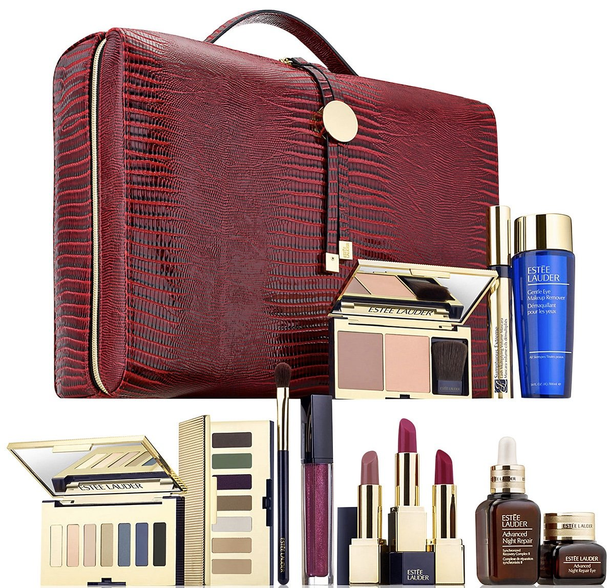 Estee Lauder Blockbuster 2017 Holiday Make Up Gift Set w/Train Case -Smoky Noir