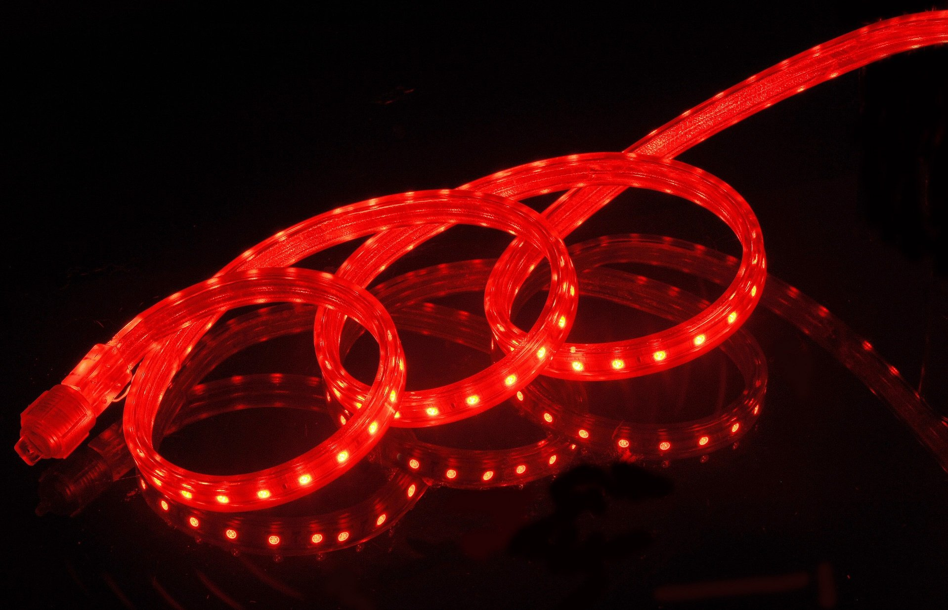 CBconcept UL Listed, 100 Feet,Super Bright 27000 Lumen, Red, Dimmable, 110-120V AC Flexible Flat LED Strip Rope Light, 1830 Units 5050 SMD LEDs, Indoor/Outdoor Use, [Ready to use]