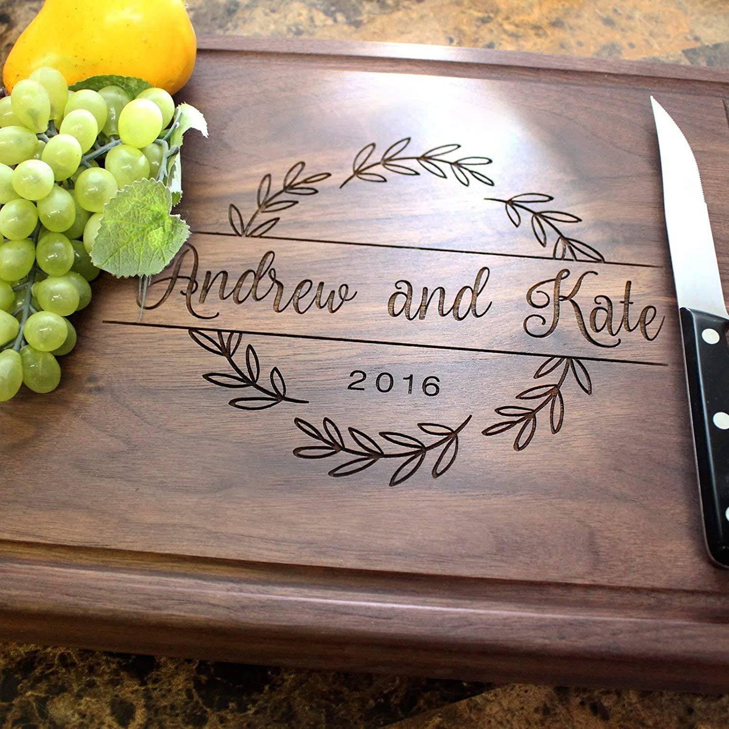 Engagement Wreath Personalized Engraved Chopping Block – Engagement Party, Wedding Shower, Wedding Gift, Anniversary Gift. #215