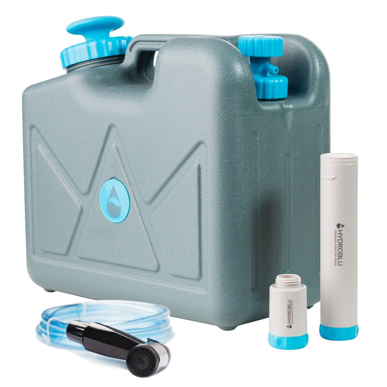 HYDROBLU Pressurized Water Can Water Filter-Activated Carbon and Hollow Fiber Filters with Shower Head Attachment; Water Can for Travel, Camping, and Emergency Preparedness -a Life Saving Water System