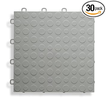BlockTile B0US4630 Garage Flooring Interlocking Tiles Coin Top Pack Gray 30