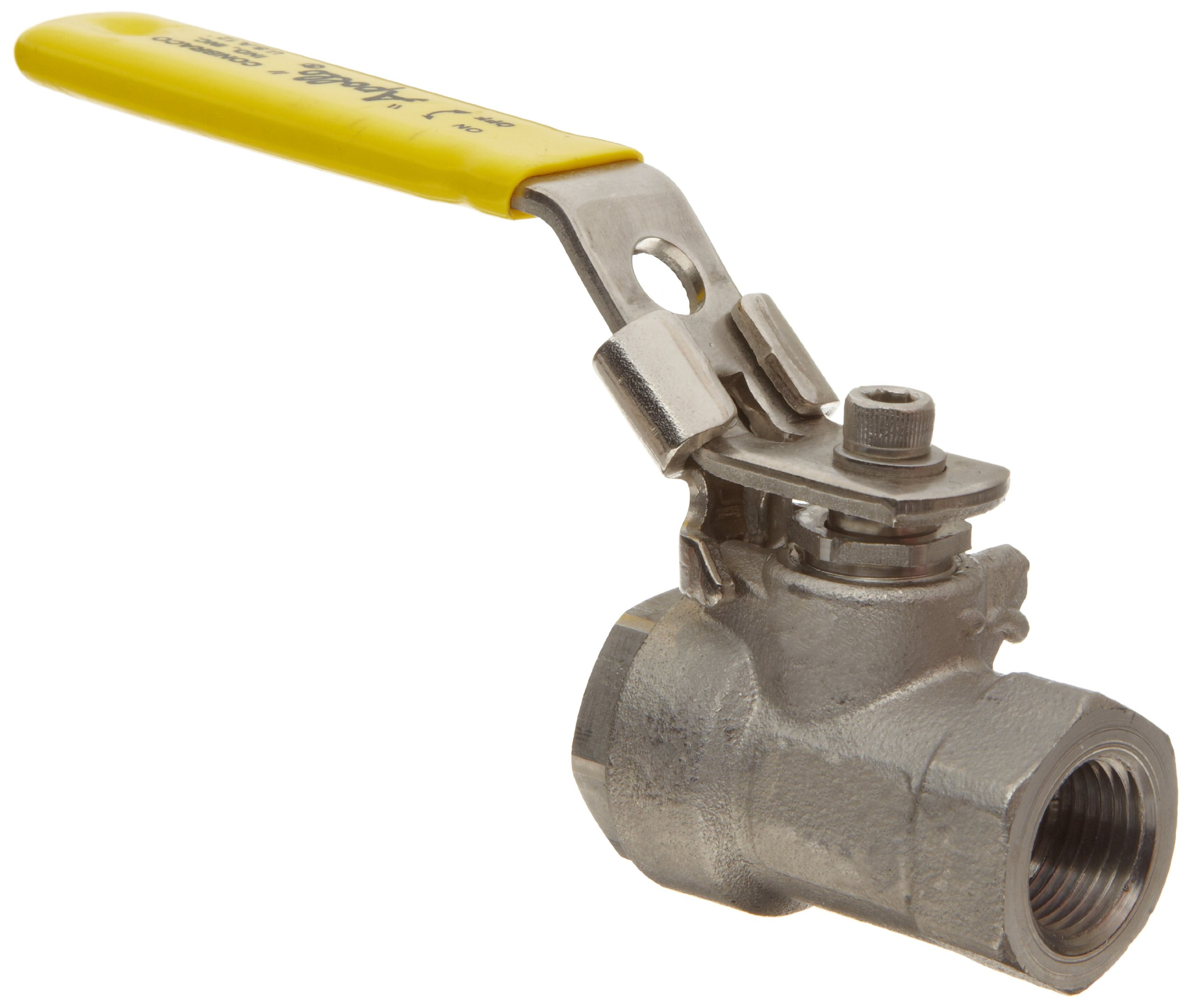 Apollo 76F-100-A Series Stainless Steel Ball Valve, Two Piece, Inline, Latch-Lock Lever with Nut, 2'' NPT Female