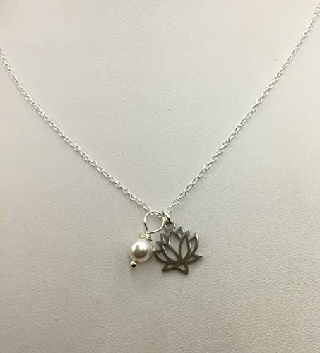 Amazoncom Silver Lotus Flower Necklace With Pearl Handmade