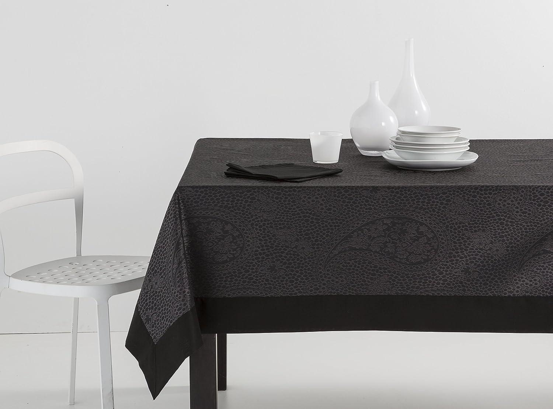 ESTELA - Mantel Jacquard con Aplique Kashmir Color Negro - 155x155 cm. - Incluye servilletas - 50% Algodón / 50% Poliéster: Amazon.es: Hogar