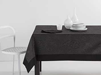 ESTELA - Mantel Jacquard con Aplique Kashmir Color Negro - 155x155 ...