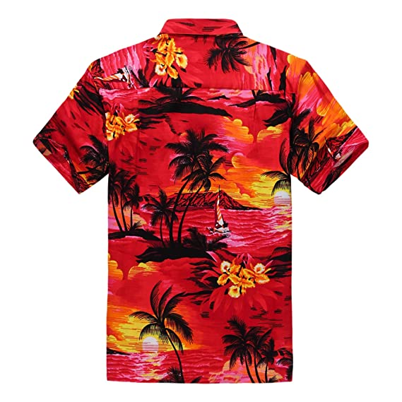 69e99012e Men Matching Hawaiian Luau Outfit Aloha Shirt and Flip Flops in Sunset Red  at Amazon Men s Clothing store