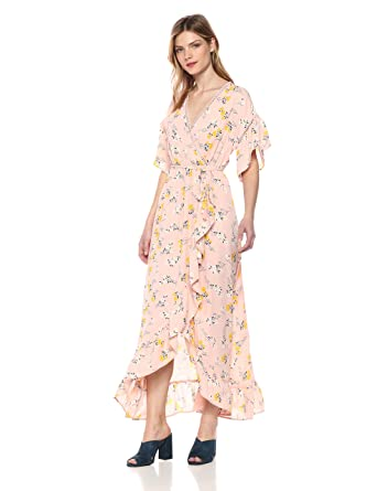 7daf9bcca152 MOON RIVER Women's Ruffle Sleeve High-Low Wrap Maxi Dress at Amazon Women's  Clothing store: