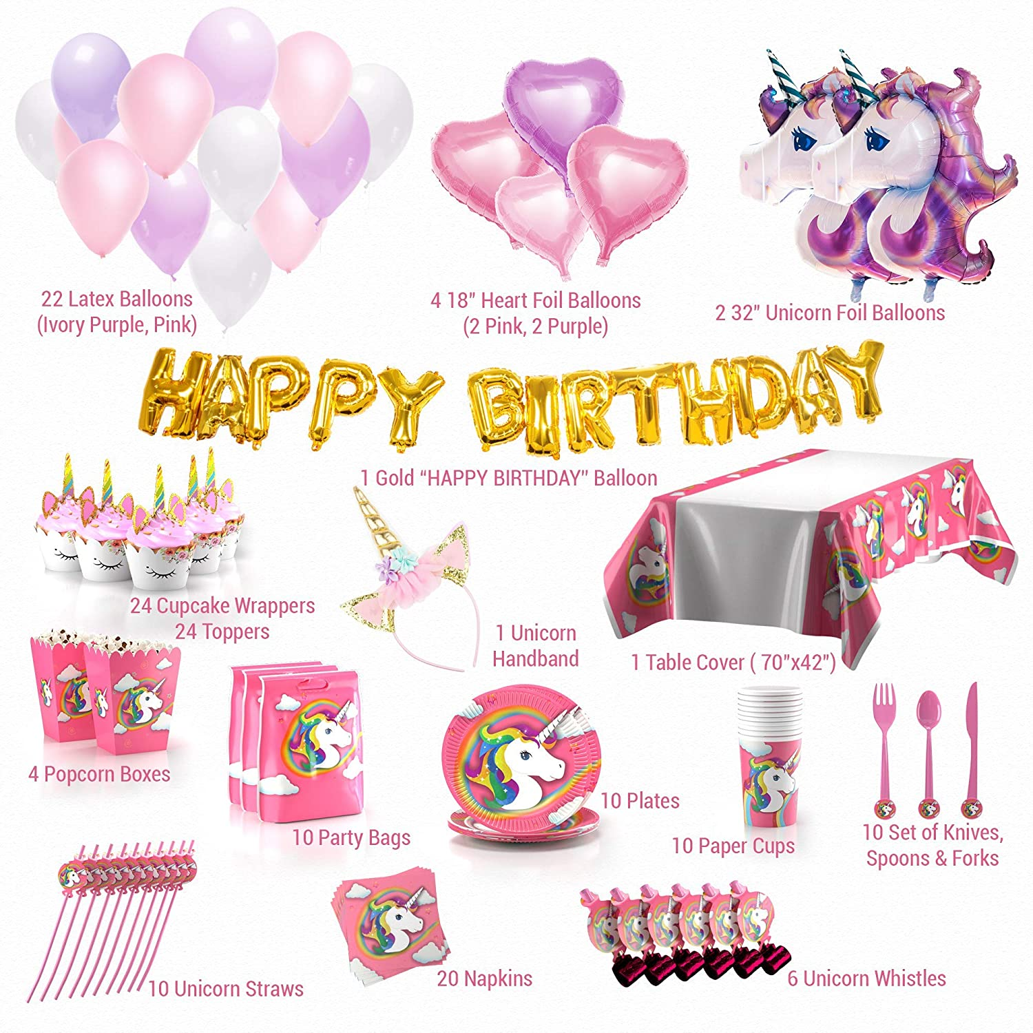 Unicorn Party Supplies Glittery Headband Disposable Tableware Serves Magical Balloons Cupcake Jpg 1500x1500 Amazon