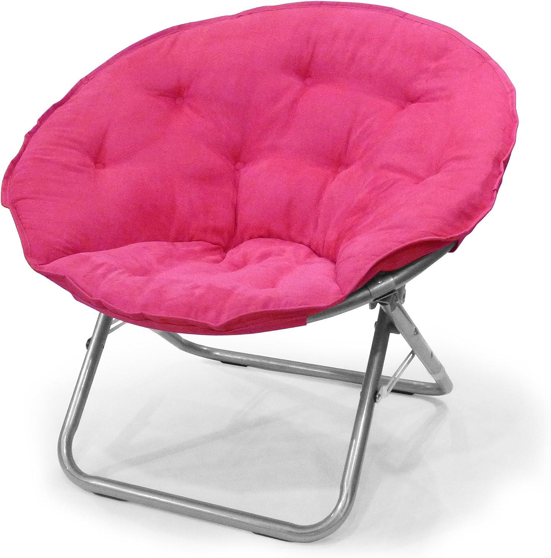 Urban Shop WK659937 Microsuede Sacuer Chair, Adult, Pink
