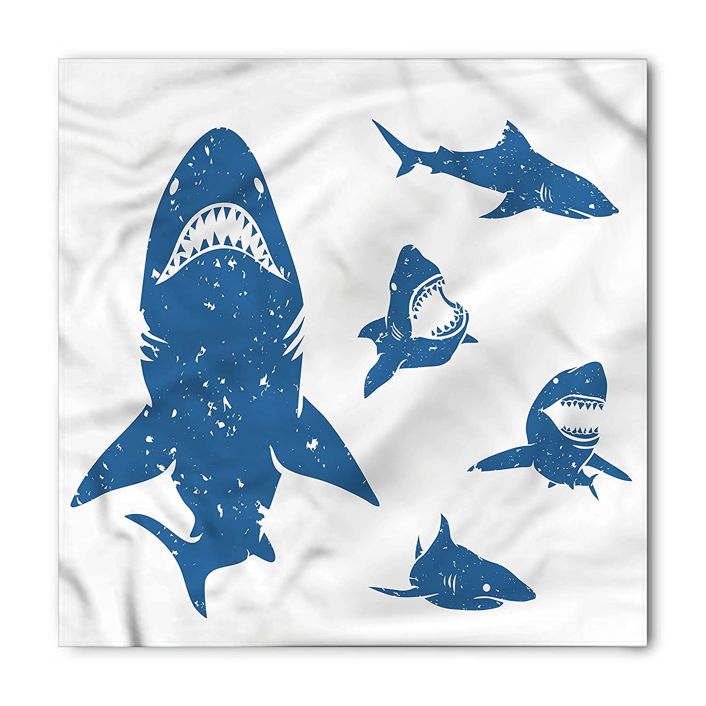 Lunarable Shark Bandana, Digital Big Shark Figures with Distressed Effects Deep Ocean Natural Retro Design Print, Printed Unisex Bandana Head and Neck Tie Scarf Headband, 22 X 22 Inches, Blue