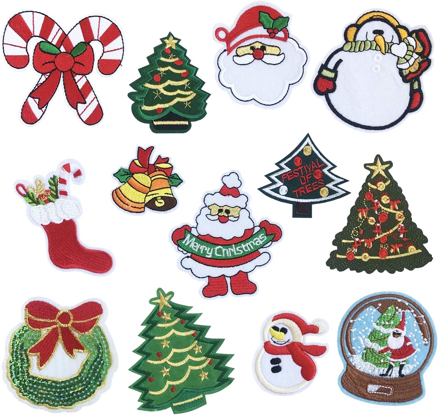 13pcs Embroidered Sewing Patches Iron On Stickers Clothes Appliques Crafts