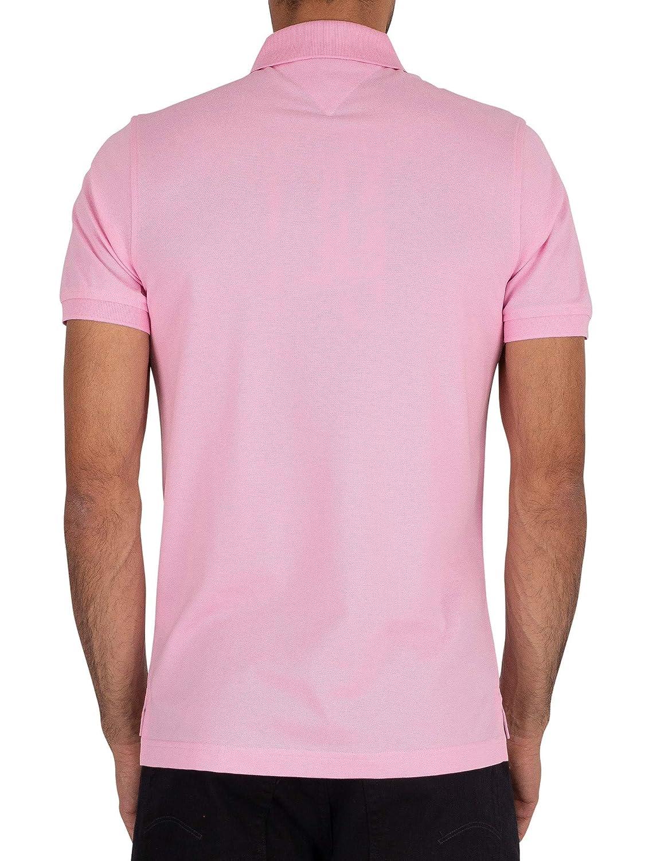 Tommy Hilfiger de los Hombres Polo Slim con Logo, Rosado: Amazon ...