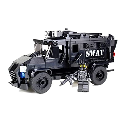 Battle Brick Armored Police SWAT Truck Custom Set: Toys & Games