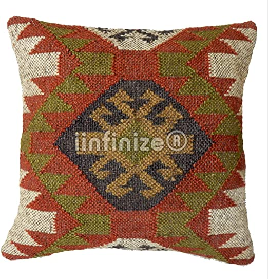 "Handmade Colorful Decor Rug Pillow Cover Jute Cushions Kilim Throw Size 18*18/"""