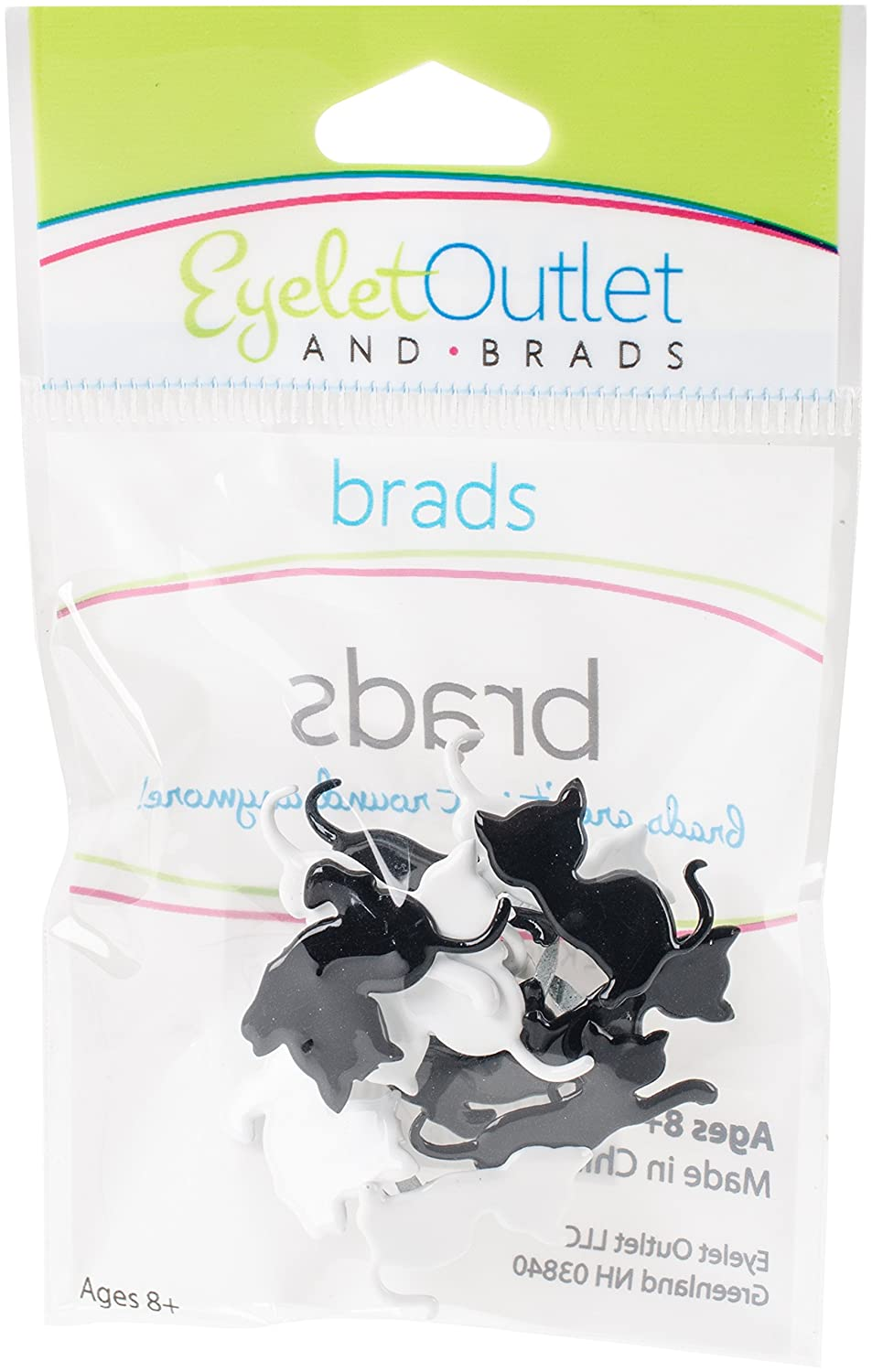 EYELET OUTLET Kitten Shape Brads 12/pkg 117