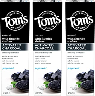 product image for Tom's of Maine Activated Charcoal Toothpaste, Natural Toothpaste, Whitening Toothpaste, Peppermint, 4.7 Ounce, 3-Pack