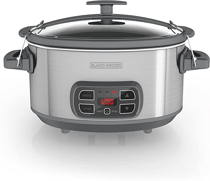 BLACK+DECKER SCD1007 7 Quart Programmable Slow Cooker with Digital Timer, Portable with Locking Lid, Stainless Steel