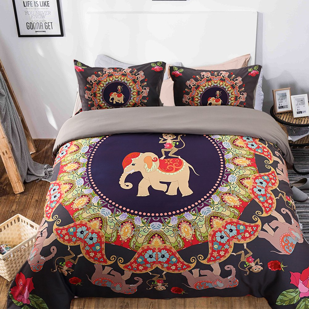 Prom Bedding Microfiber 3pc Elephant Monkey Duvet Cover Set India Mandala Bohemian Design Bedding Set Queen Size Reveisible