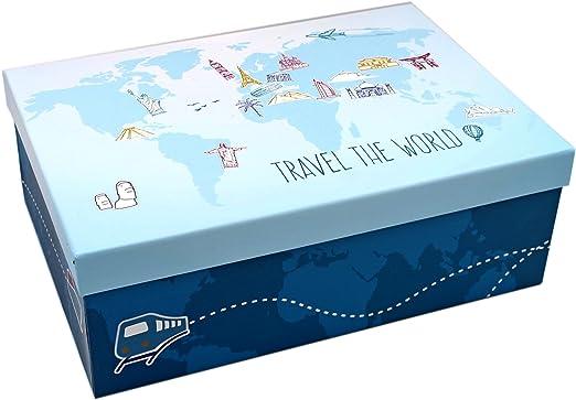 Heku Caja de Regalo ~ Color Azul Claro Mundo/Viaje ~ Diferentes ...