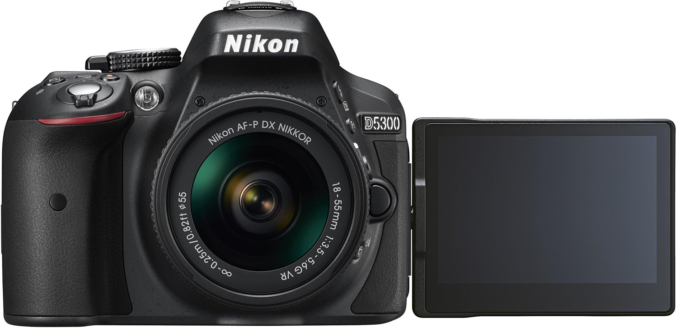 Nikon D5300 Digital SLR Camera - Black (24.2 MP, AF-P 18-55mm VR Lens Kit) 3-Inch LCD Screen - International Version (No Warranty) by Nikon