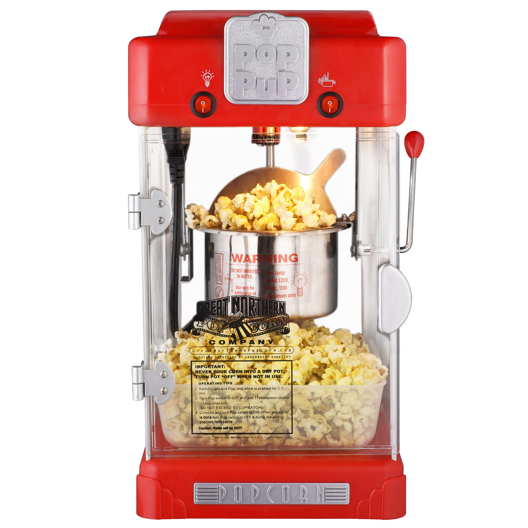 6074 Great Northern Popcorn Machine Pop Pup Retro Style Popcorn Popper,  2.5oz by Great Northern