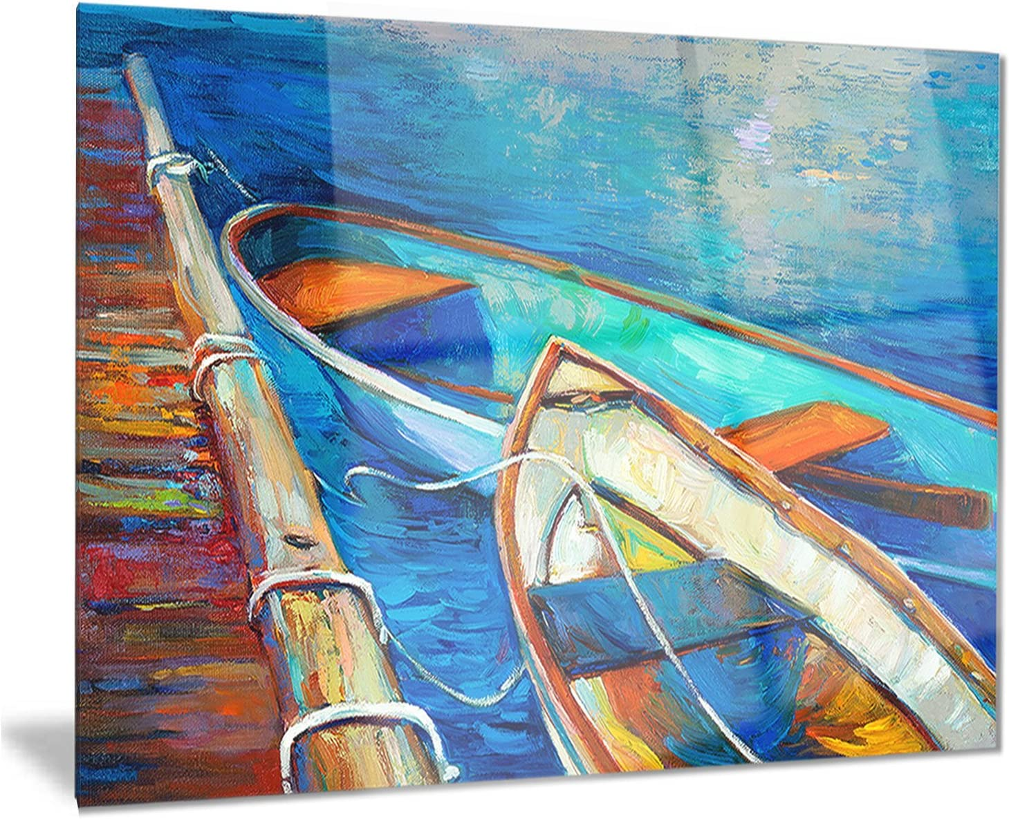 Designart Boats New Limited time trial price mail order and Pier in Painting W Shade-Seascape Metal Blue