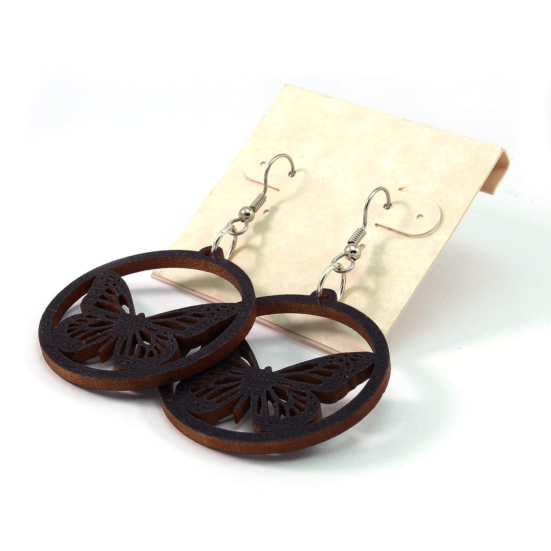 Small Wood Earrings with Black Drop Dangling Wood Earrings