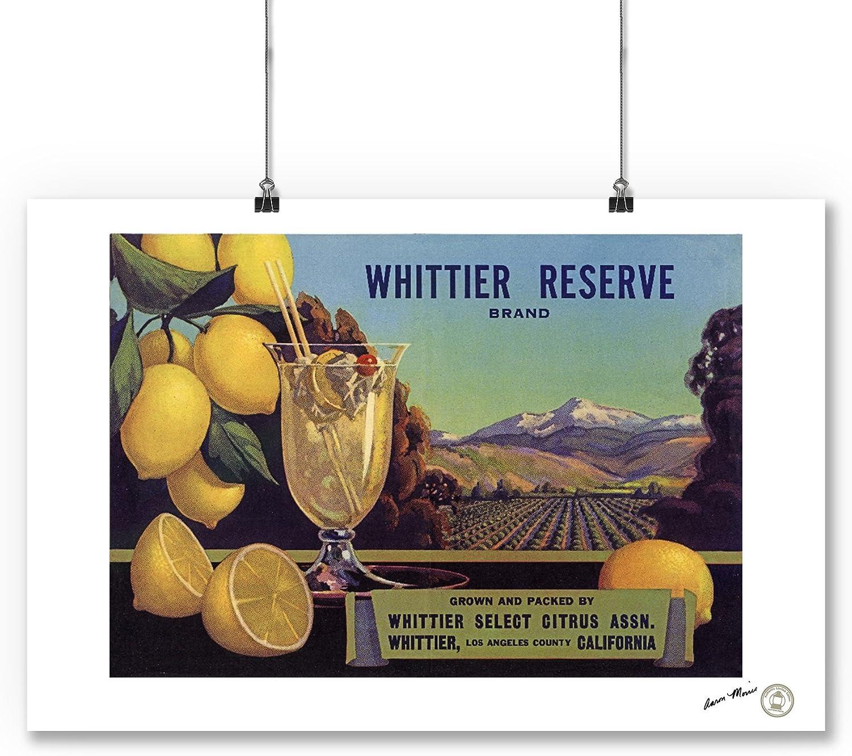 Whittier Reserve Lemon Citrus Crate Label Art Print