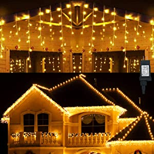 Hezbjiti LED Icicle Lights, 400 LED 32.8 FT 8 Modes 75 Drops Fairy String Lights Plug in Extendable Curtain Light String Christmas Lights for Bedroom Patio Yard Garden Wedding Party (Warm White)